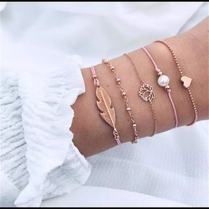 Jewelry - Dainty Feather Rose Gold Bracelet Set